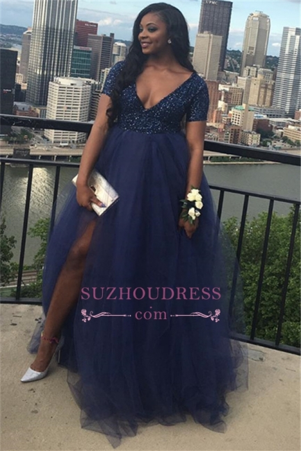 Plus-Size A-line Tulle Prom Dress | Short Sleeves V-Neck Party Dresses