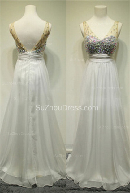 White V-Neck Sweep Train Prom Gowns  A-Line Elegant Evening Dresses with Beadings