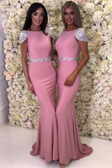 Cap Sleeve Silver Beads Crystals Bridesmaid Dresses  | Open Back Sexy Pink Maid Of Honor Dress