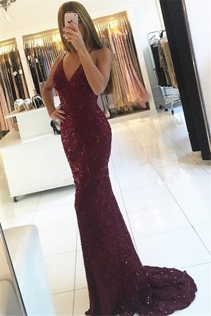 Sexy Burgundy Shiny Sequins Evening Gowns V-neck Straps Backless Formal Prom Dress BA6854