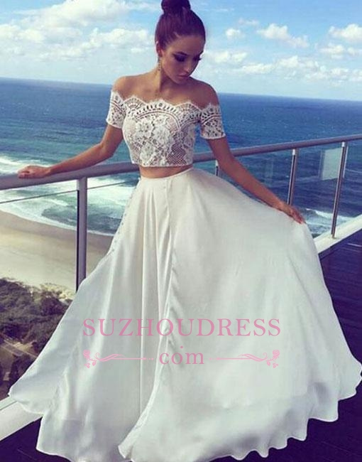 Lace White Two-pieces Off-the-shoulder Prom Dresses  Long Evening Dress BA7422