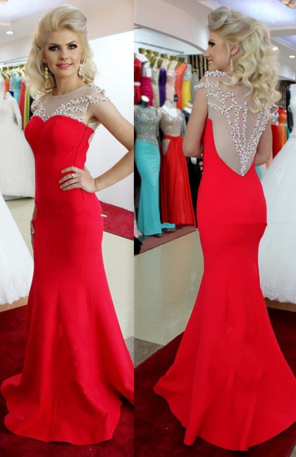 Sexy Mermaid Prom Dress Red Beading  Evening Dress