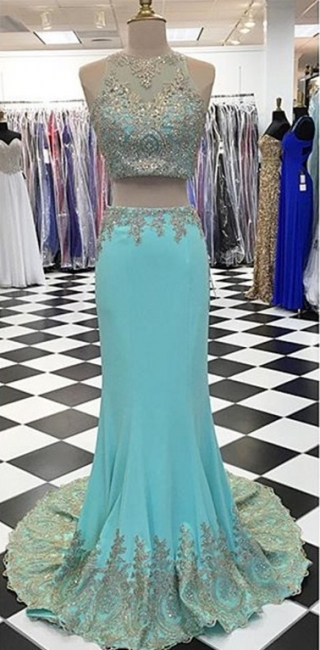 New Arrival Two Piece Mermaid  Prom Dress Crystal Sleeveless Long Evening Gowns