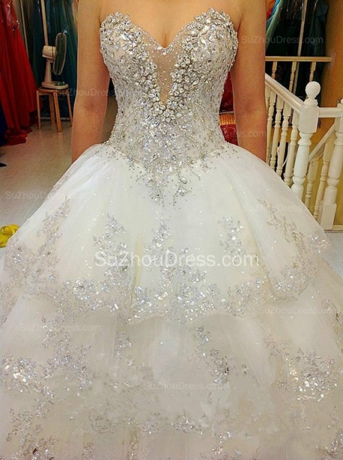 Glarmours Bridal Dresses Sequined Beading Crystal Tiered Sweep Train Ball Gown Chiffon Wedding Gowns