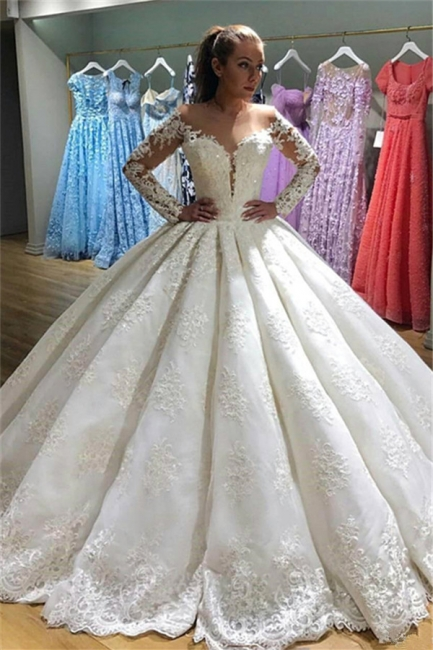 Elegant Long Sleeves Appliques Wedding Dresses  | Puffy Sheer Bridal Ball Gown