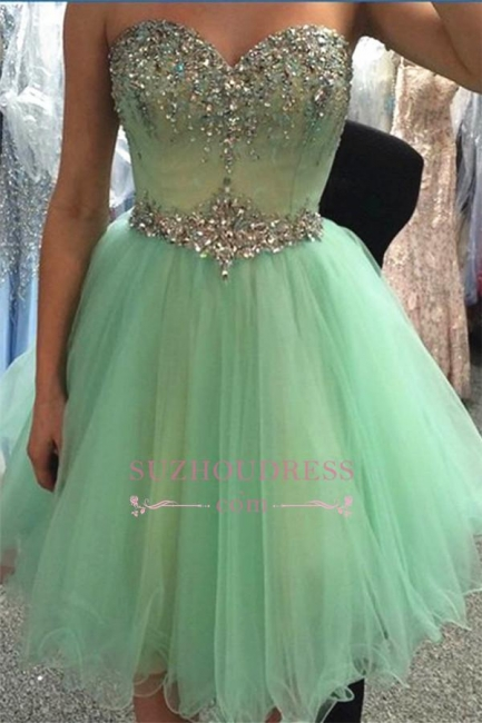 Sweetheart Crystals Lovely Green Organza Party Dress Beading Sleeveless   Homecoming Dresses