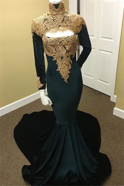 Gold Lace Black Prom Dresses  | Long Sleeve Mermaid Evening Dress with Keyhole