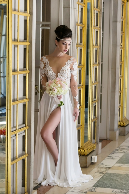 Plunging Neck Long Sleeve Summer Wedding Dress Chiffon Split  Beach Bridal Gowns