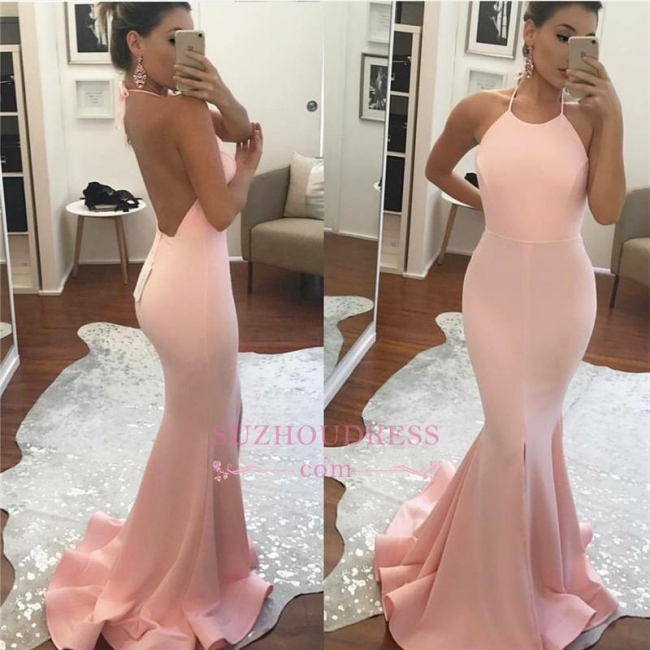 Amazing Sleeveless Mermaid Summer Party Gown Halter Backless  Prom Dress BA6119