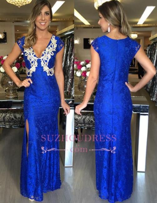 Long Zipper Royal-Blue Split Mermaid Applique V-Neck Sexy Prom Dresses