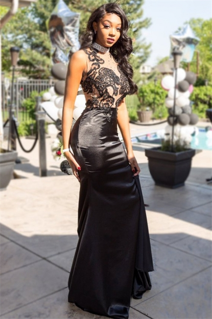 Black See Through Lace Tulle Prom Dress with Crystals |  Sexy Beads Evening Dress with Long Train