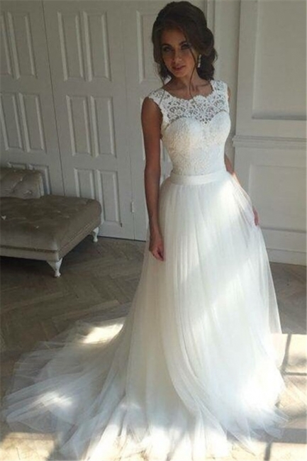 Sash Open Back Sleeveless  Bride Dress A-line Simple Lace Summer Beach Wedding Dresses