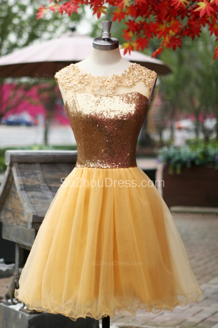 Yellow Prom Dresses  Jewel Sequined Appliques Zipper Ruched A Line Organza Short Evening Gowns