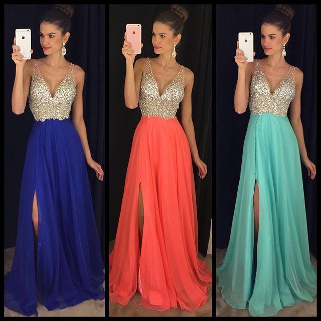 Sexy V-neck  Prom Dresses Long Side Slit Chiffon Evening Dress with Sequins GA034