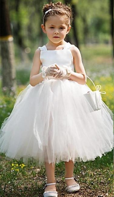 Tea Length Ball Gown Baby Flower Girl Dresses Cute Tulle Sleeveless Children Gowns