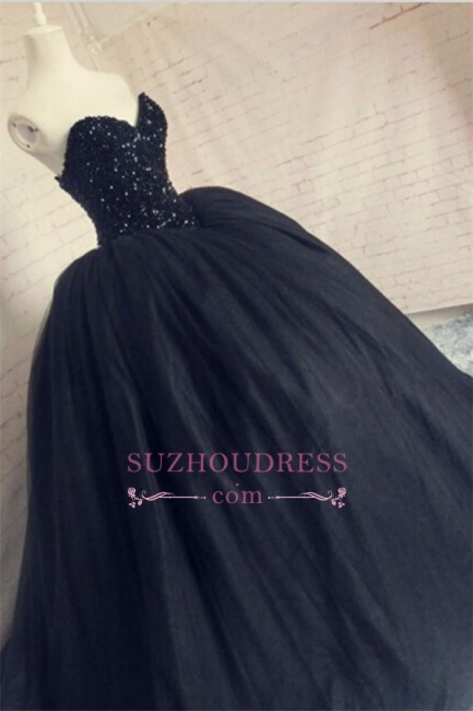 Beaded Amazing Black Evening Gown 2016 Sequins Sweetheart Sparkly Corset Puffy Tulle Prom Dress