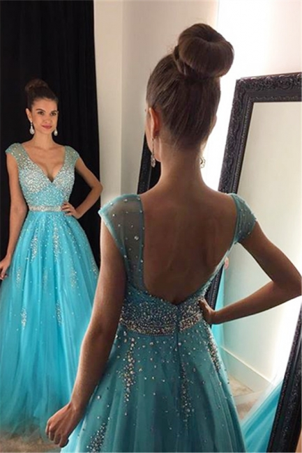 Backless Blue Sequins Prom Dresses  Sleeveless Tulle Long Evening Dress