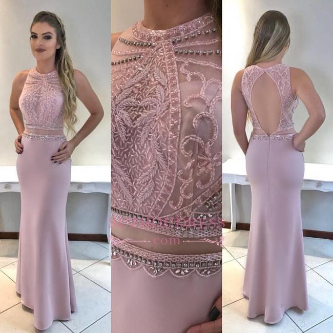 Sleeveless Mermaid Prom Dress | Beadings Open Back Evening Dresses