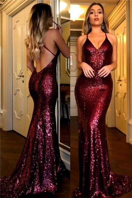 V-neck Sparkly Sequins Open Back Evening Gowns  Sleeveless  Burgundy Formal Dress FB0123