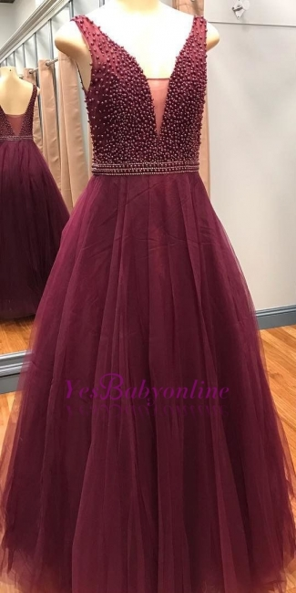 Luxury Sleeveless Beaded Pearls A-Line V-Neck Prom Dresses