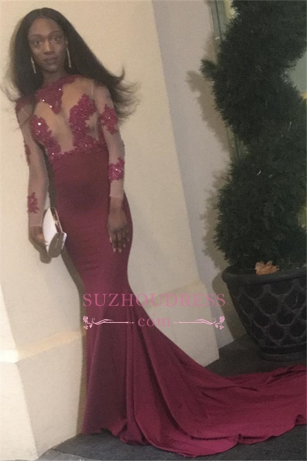 New arrival Long-Sleeves Prom Dress | Open  Back Sheath Appliques Evening dress