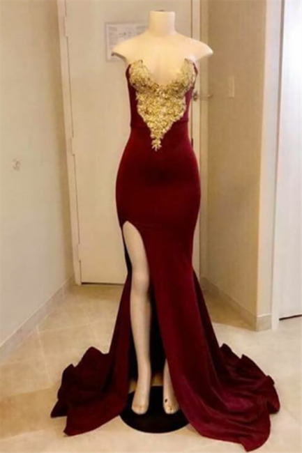Sexy Sweetheart Mermaid Prom Dreses | Velvet Appliques Side Slit Evening Dresses  SK0174