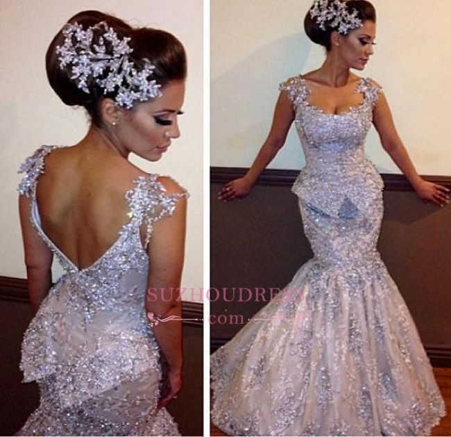 Amazing Mermaid Open Back Prom Dress  Appliques Sleeveless Sequins Evening Dresses BO7011