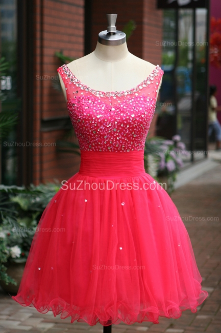 Peachblow Prom Dresses Scoop Beading Crystal Ruched A Line Sleeveless Zipper Organza Short Evening Gowns