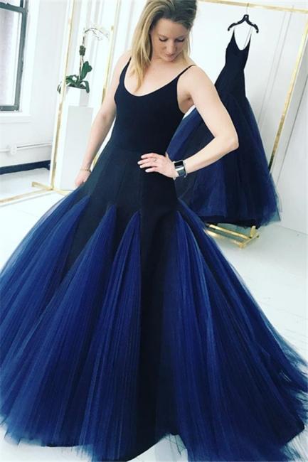 Dark Navy Spaghetti Straps Mermaid Evening Gowns  | Tulle Sleeveless Prom Dresses