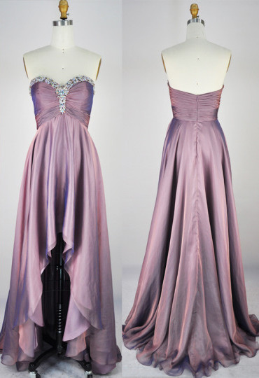 30D Chiffon Sweetheart Lovely Asymmetric Prom Dresses  with Beadings Popular Custom Made Evening Dresses