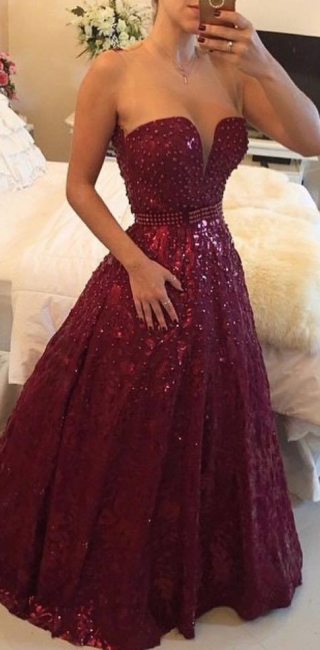 A-Line Burgundy Sweetheart Crystal Evening Dress with Beadings Open Back Floor Length Prom Gowns BMT023