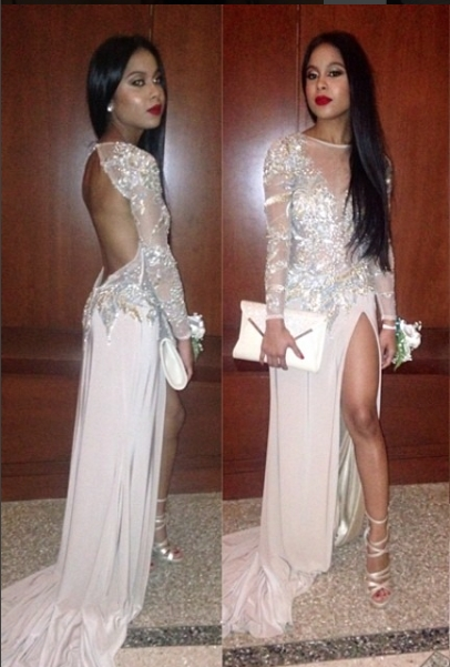 Sexy Backless Evening Dress with Slit Long Sleeves Prom Dresses with Sequins