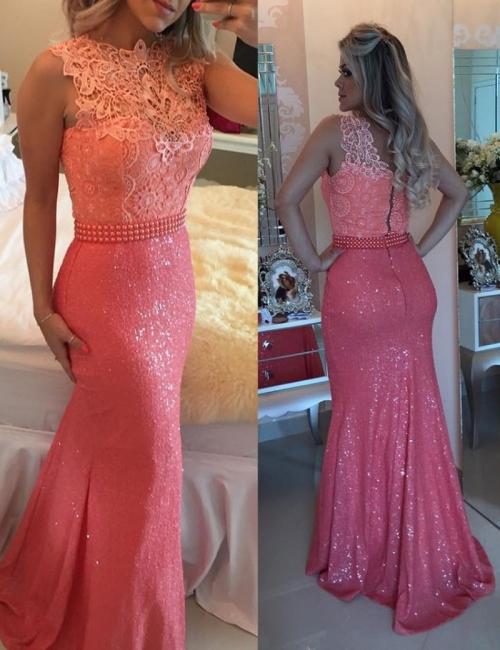 Elegant Sequined Lace Evening Dresses | Sleeveless Sheath Prom Dresses with Beaings
