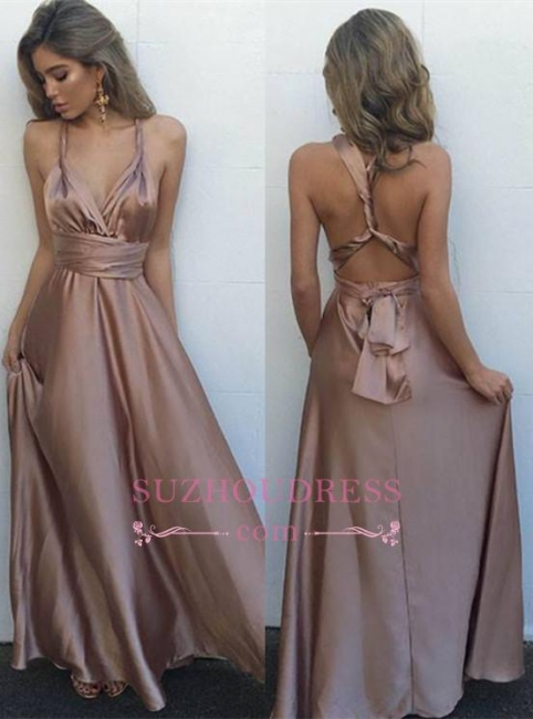 V-Neck Floor-Length   Evening Gown Gorgeous Long Sleeveless Prom Dress BA4071