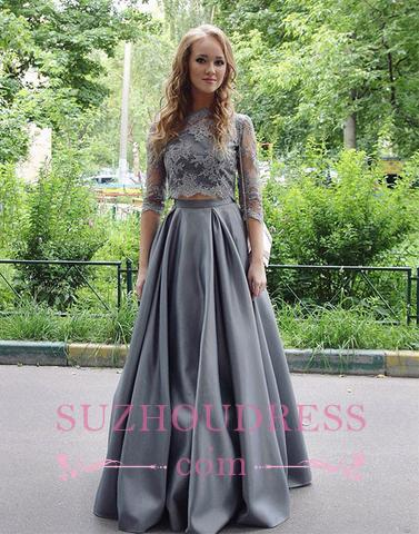 Long Scoop Hlaf sleeves  Formal Evening Dress Floor Length Elegant Gray Lace Two Pieces Prom Dress