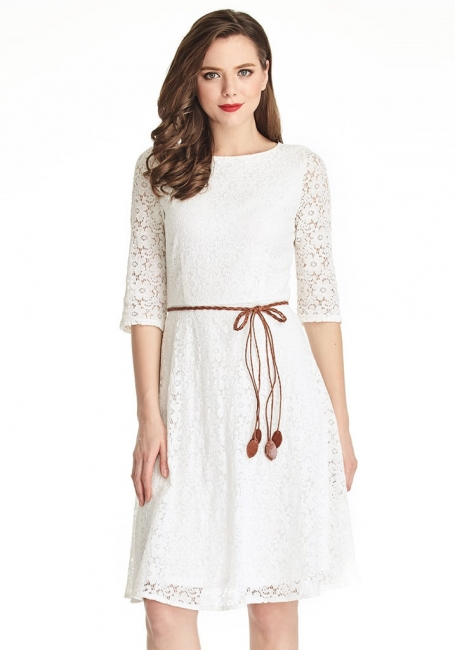 A-Line White Half Sleeve Summer Dresses Lace Knee Length Short Homecoming Gowns