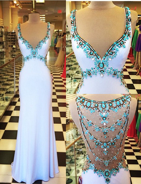 White  Prom Dresses Turquoise Crystals Open Back Evening Gowns