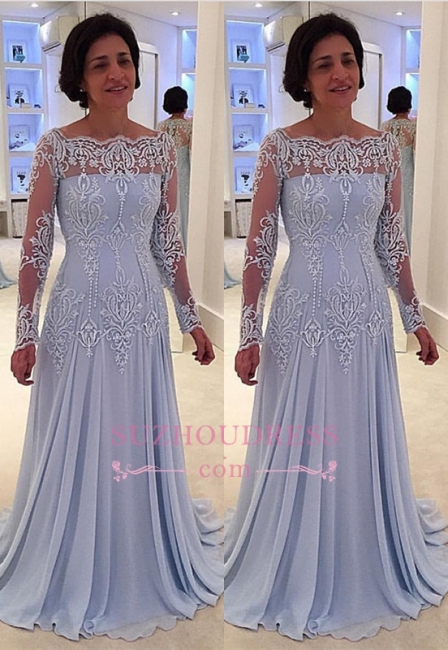 Lace Long-Sleeve Elegant A-line Mother-the-bride Dress