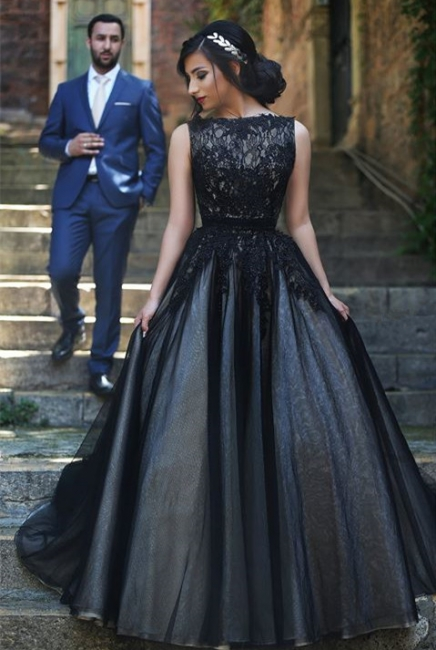 A-Line Popular Black Lace Long Prom Dress New Arrival Custom Made Formal Occasion Dresses MH028