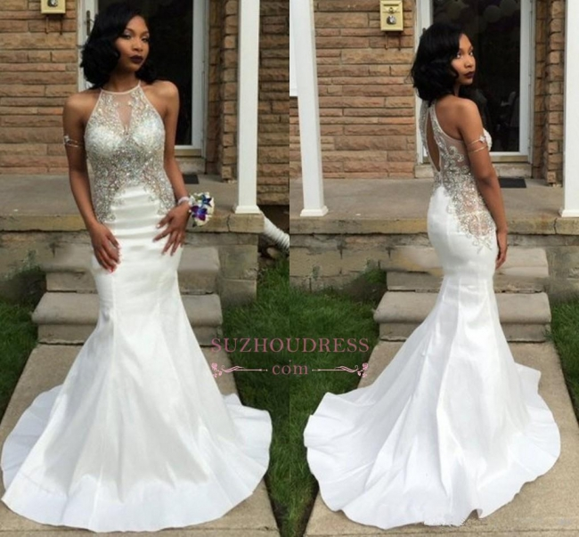 Crystal Halter Sexy White Mermaid Sleeveless Prom Dress