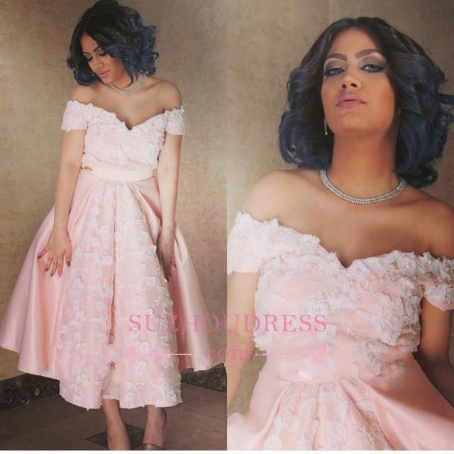Off-the-Shoulder Pink Elegant Appliques A-Line Prom Dress