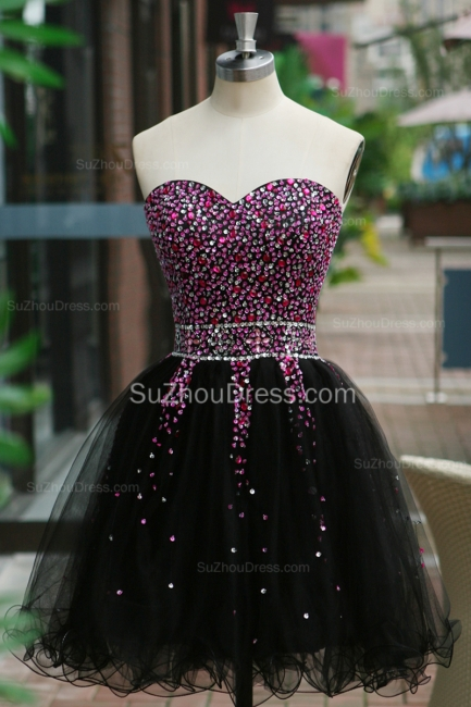 Black Prom Dresses Sweetheart Crystal Ruched A Line Sleeveless Lace Up Organza Short Evening Gowns BA7306