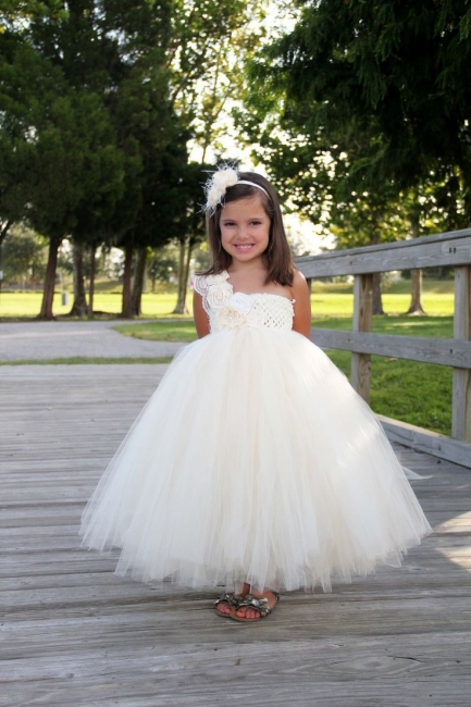 One Shoulder Ball Gown Children Dress with Flowers New Arrival Tulle  Girl Dresses