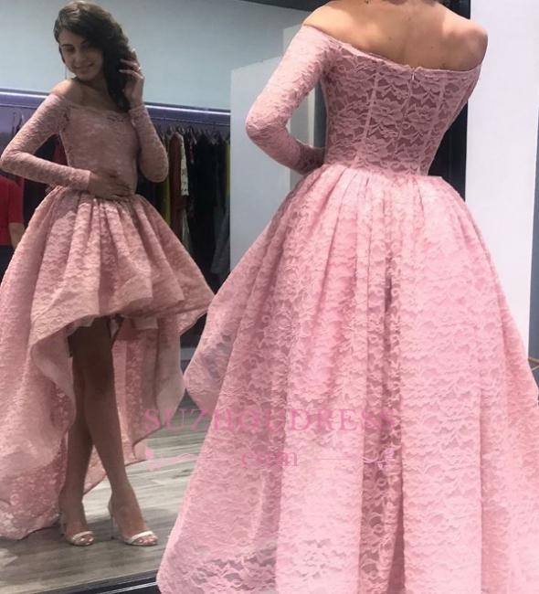 Pink Off Shoulder Zipper Hi-Lo Evening Dresses    Long-Sleeves Prom Dress