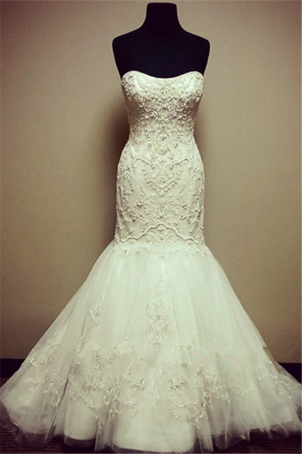 Mermaid Strapless Appliques Wedding Dresses  Tulle Skirt Beading Bridal Gown