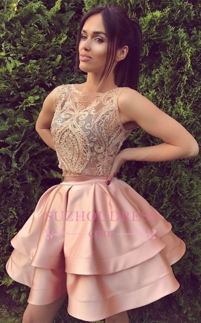 Short Appliques Mini Hoco Dress Sleeveless Two Pieces Sexy  Homecoming Dress Online