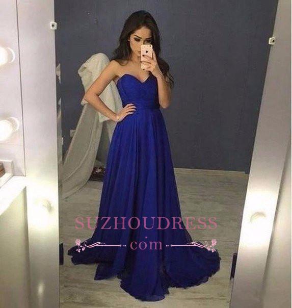 Long Sweetheart  Blue Chiffon A-Line Prom Dresses