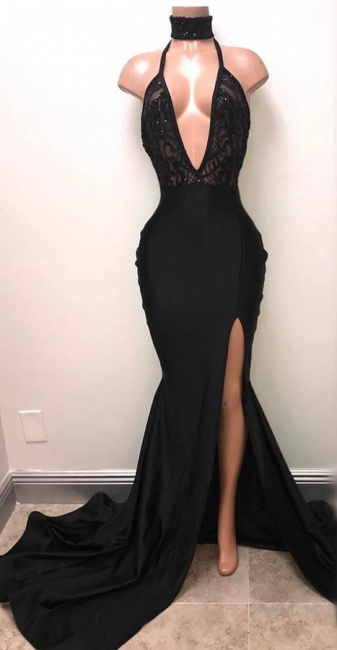 Halter Deep V-neck Black Prom Dresses  | Sexy Slit Sleeveless  Evening Dress