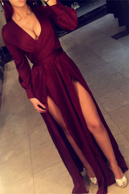 Deep V-neck Burgundy Evening Dresses  Long Sleeve Sexy Prom Gowns with Splits CE0060