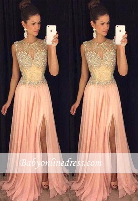 A-line Front-Split Gorgeous Sleeveless Beads Chiffon Prom Dress